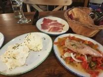 Russian salad, mackerel & Jamon